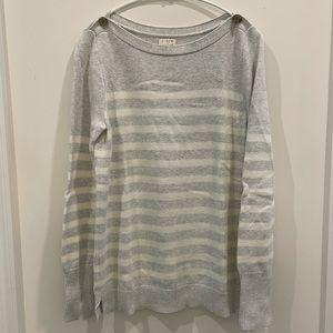 【J.Crew】Striped boatneck cotton sweater/Gray/S